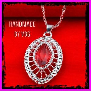 🆕 Sterling Silver Handmade Ruby Necklace